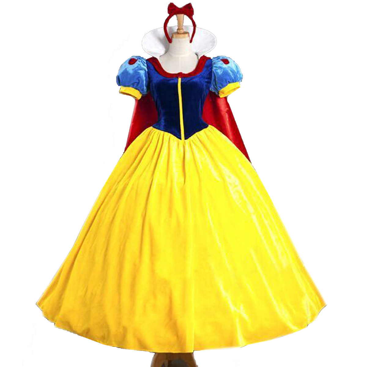 Women Adult Halloween Cartoon Princess Snow White Costume For Sale White Snow Princess With Bustle Disney Costumes