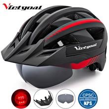 Victgoal Bicycle Helmet LED Moutain Road USB Rechargeable Light Cycling Helmet For Man Sun Visor Goggles Men MTB Bike Headgear