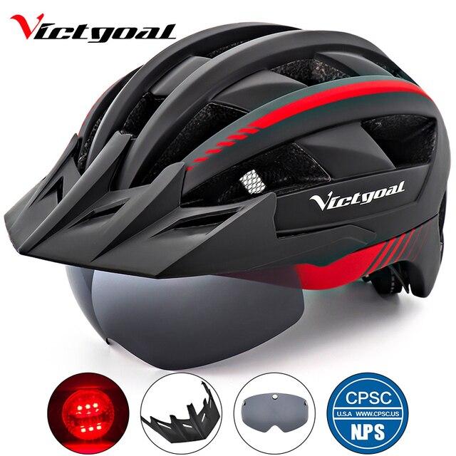 Victgoal Fahrrad Helm LED Moutain Straße USB Aufladbare Licht Radfahren Helm Für Mann Sonnenblende Goggles Männer MTB Bike Kopfbedeckungen