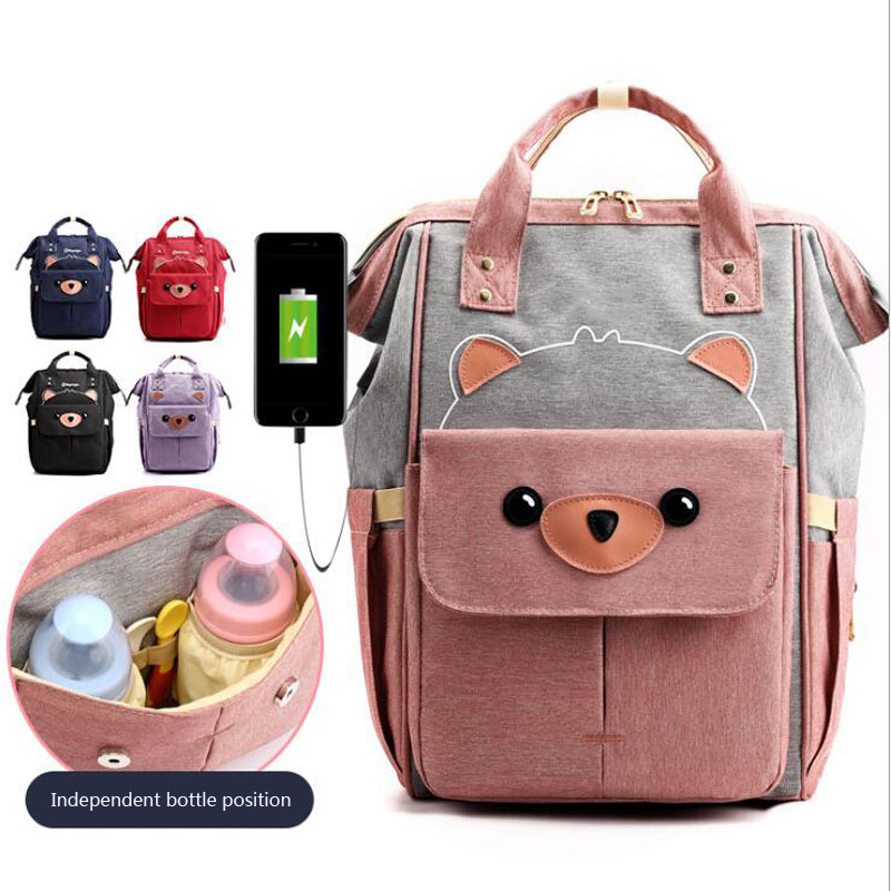 Mummy Diaper Bag Large Capacity USB Charging Backpack Maternal Baby Waterproof Outdoor Travel Diaper Bag Baby Care Mummy Bag