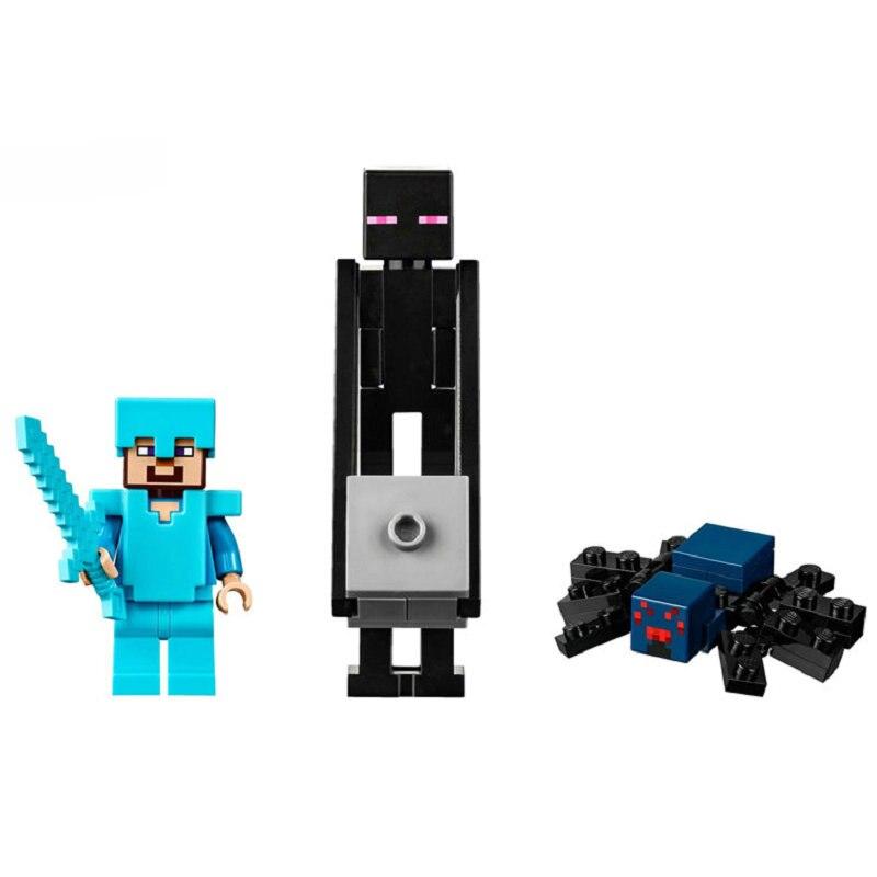 The End Portal Building Blocks With Steve Action Figures Compatible LegoINGlys MinecraftINGlys Sets Toys For Children 21124 5