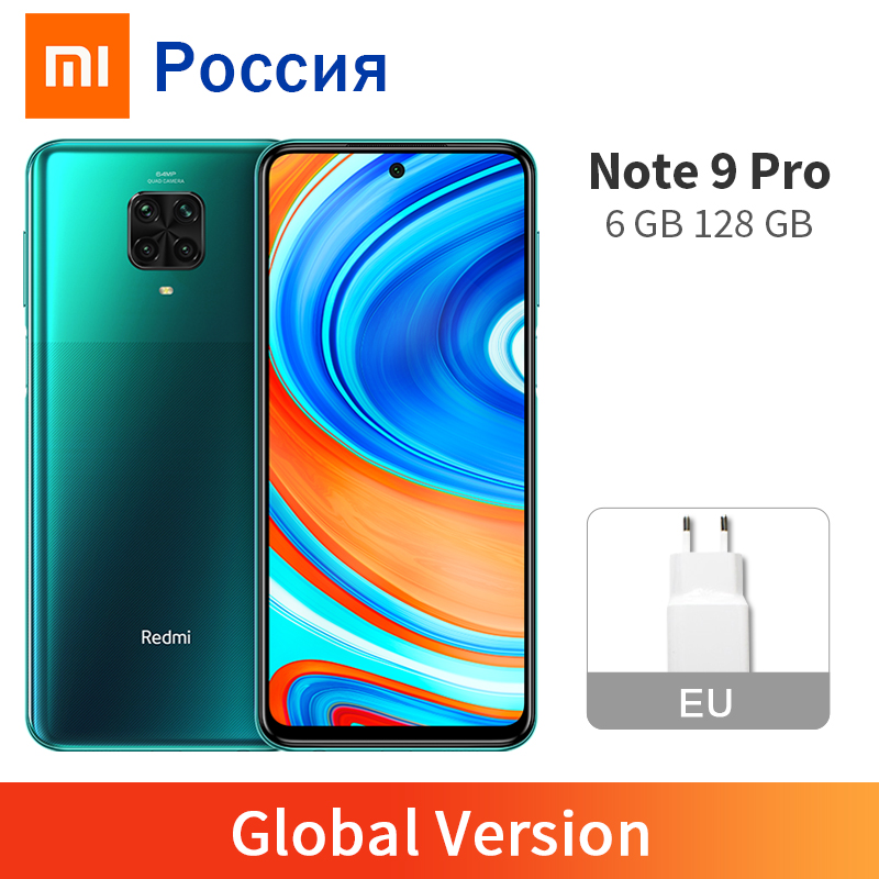 """Global Version Xiaomi Redmi Note 9 Pro 6GB 128GB NFC Smartphone 6.67"""" Snapdragon 720 64MP Four Cameras 5020mAh 33W Fast Charger(China)"""