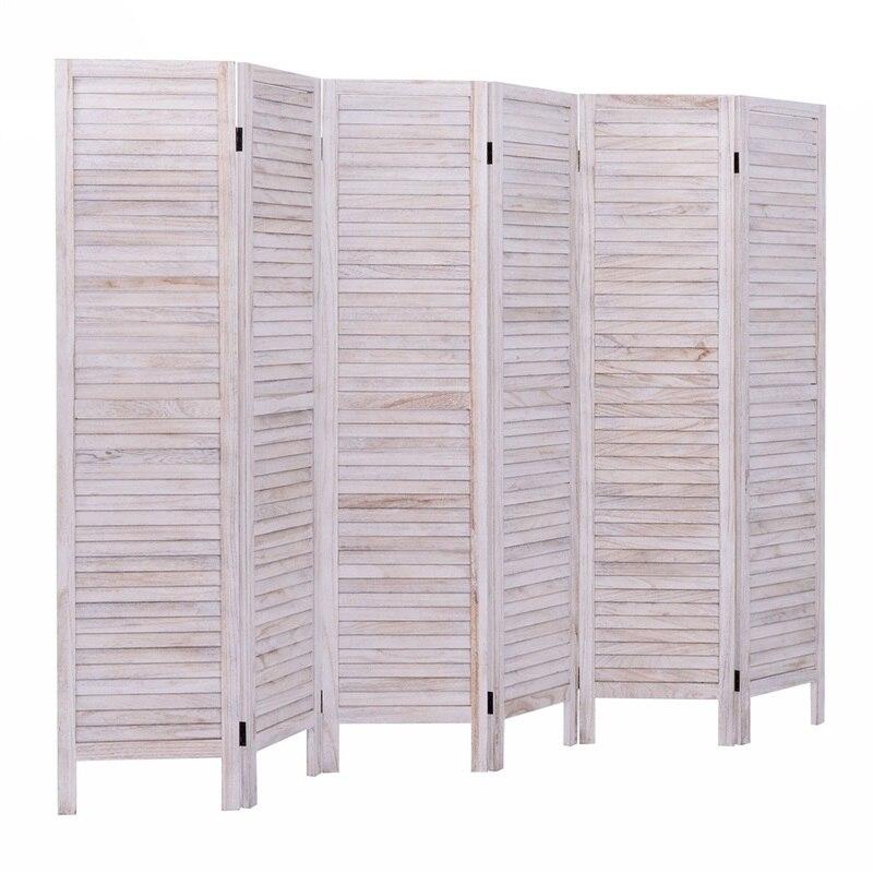 Haute qualité 6 panneaux classique vénitien en bois lamelle pièce écran traditionnel chinois chambre écran dévider HW53906