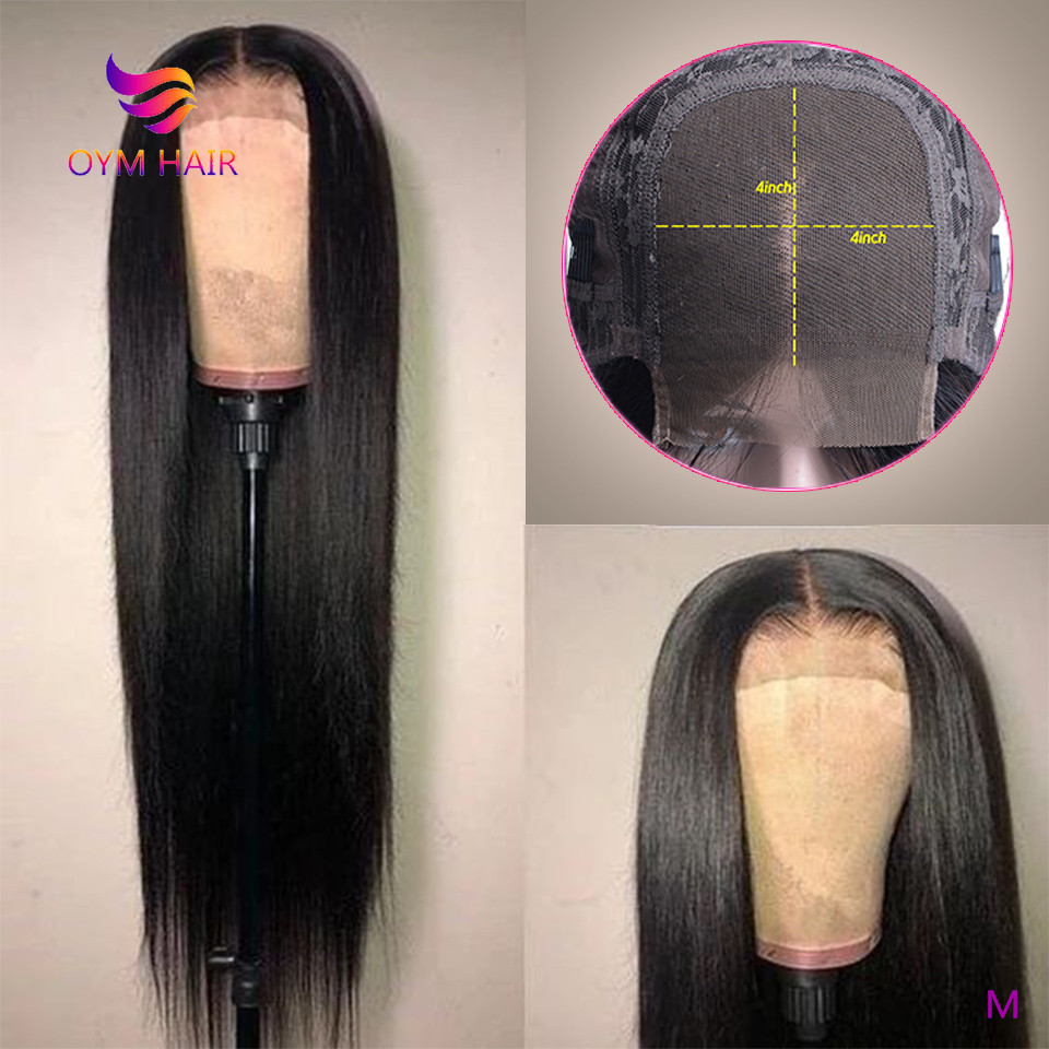 OYM HAIR Brazilian 4x4 Lace Closure Wig Pre Plucked Hairline With Baby Hair 150% Density Remy Human Hair Straight Closure Wigs