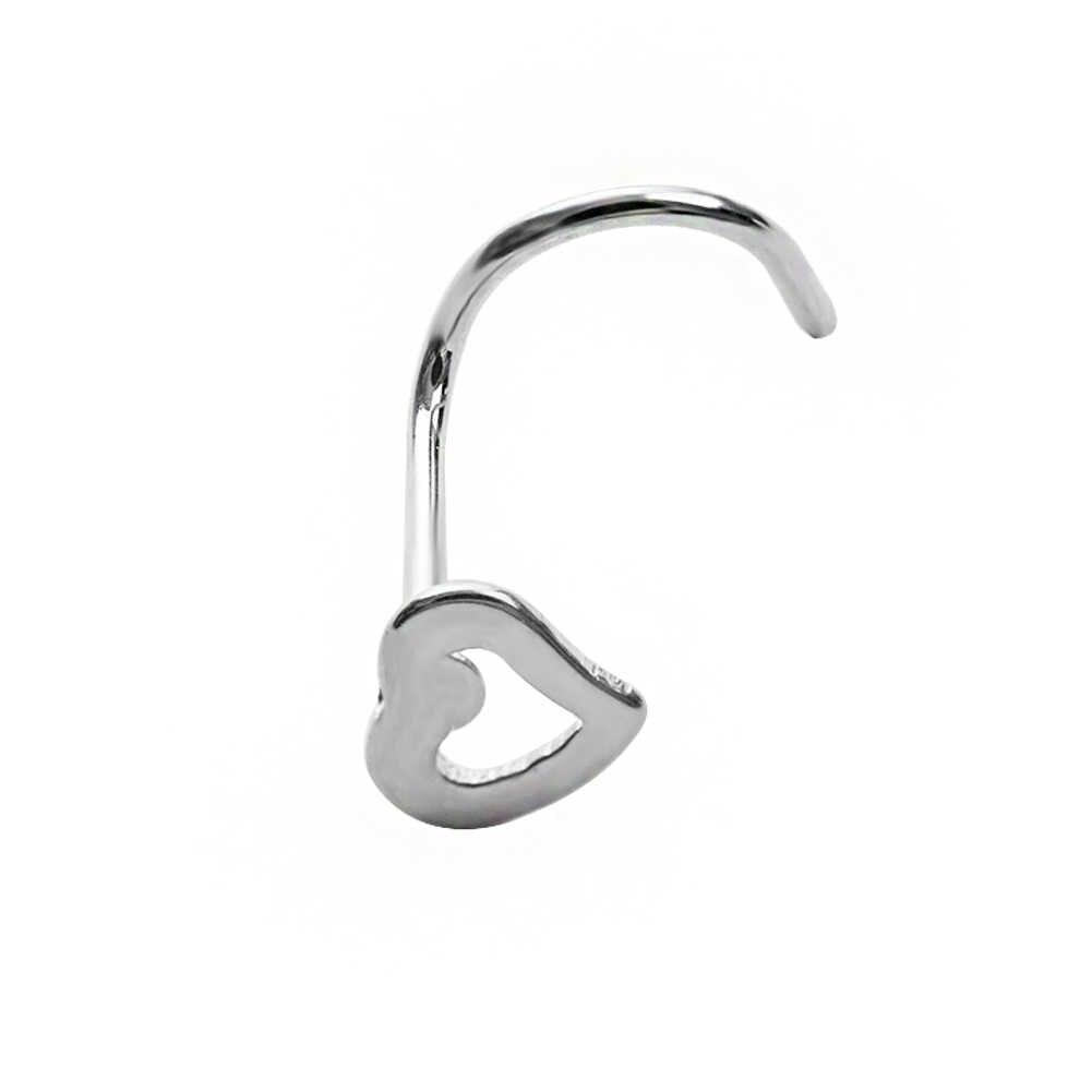 Surgical Steel Small Gem Heart Screw Nose Stud Women Men Nose Ring Nose Hoop Piercing Punk Body Piercing Unisex High Quality Aliexpress