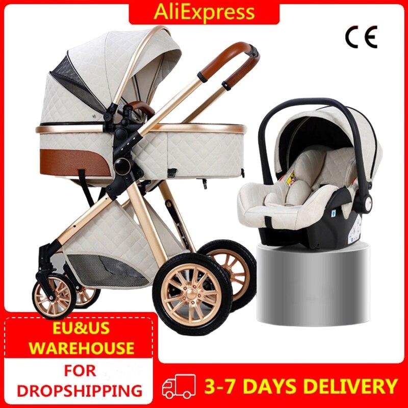 3 in 1 Kinderwagen Königlichen Luxus Leder Aluminium Rahmen Hohe Landschaft Folding Kinderwagen Pram mit Geschenke Baby Wagen