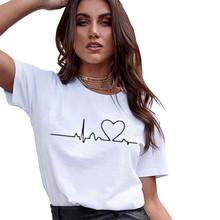 Damskie koszulki z okrągłym dekoltem letnia koszulka z krótkim rękawem kobiety Harajuku miłość koszulka z nadrukiem koszulka casual topy kobiety bicie serca odzież tanie tanio Noocuxuekon Poliester REGULAR NONE F465 Suknem O-neck Drukuj Na co dzień female T-shirt Ladie s cotton T-Shirt T-shirts For Women