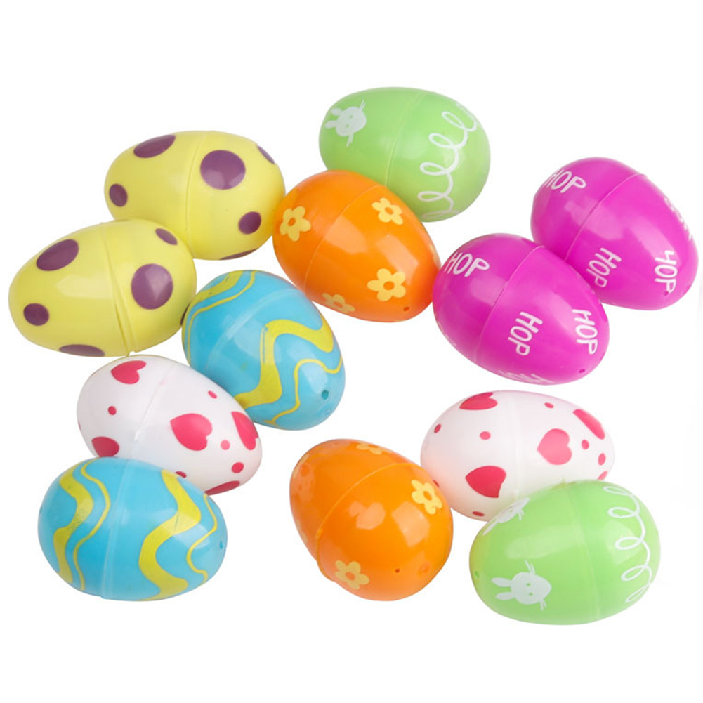 12pcs/pack Handmade Gifts Funny Easter Egg Empty DIY Non-toxic Small Decorative Plastic Kid Toy Party Favor Detachable Colorful