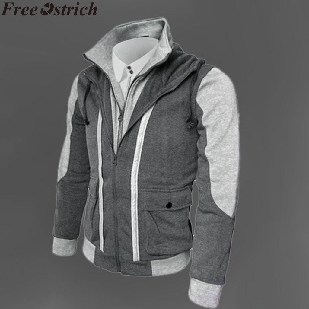 Men Zip Up Hoodie Jacket Long Sleeve Sweatshirt Hooded Pocket Sports Coat Top
