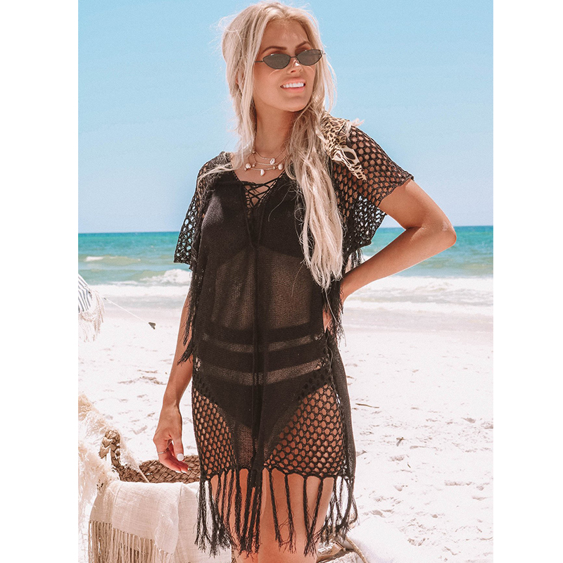 New Knitted Beach Cover Up Women Bikini Swimsuit Cover Up Hollow Out Beach Dress Tassel Tunics Bathing Suits Cover-Ups Beachwear 42
