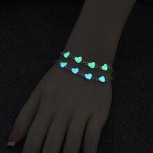 Fashion Glowing Heart Pentagram Bangle Silver Color Metal Adjustable Bracelet & Luminous Jewelry Gift for Women
