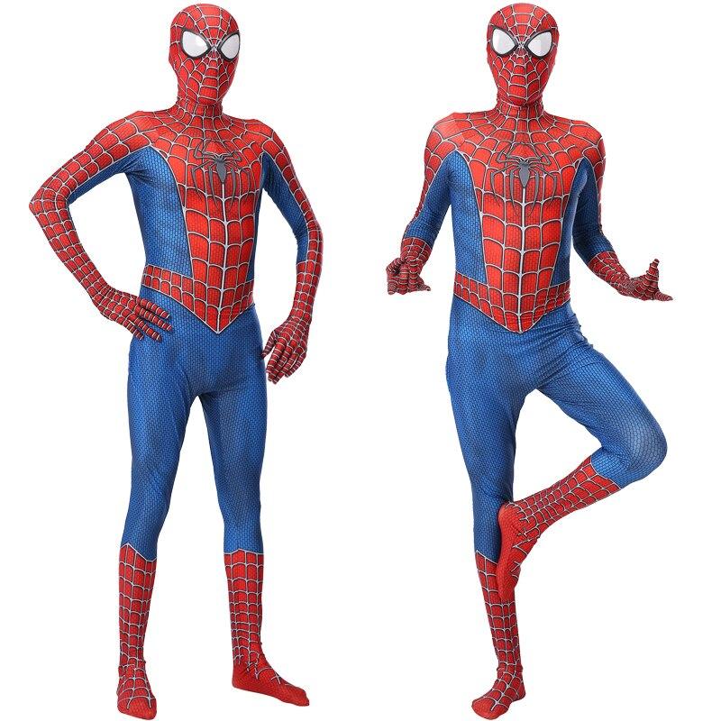 Костюм для косплея 3D из красного спандекса на Хэллоуин, костюм паука синего цвета, маскарадный костюм для мам с маской, мужской костюм для ко...