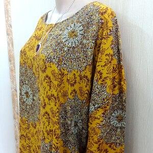 Image 3 - Dashikiage Vàng Nguyên Chất Cotton In Hoa Châu Phi Dashiki Váy Đầm Cho Nữ Cỡ Mama Đầm 168 Cm * 119cm Khăn