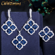 CWWZircons Dark Blue Cubic Zirconia Crystal Big Dangle Drop Lucky Flower Leaf Earring Necklace Ring Women Chic Jewelry Sets T328 chic blue bead and leaf shape embellished retro ring for women