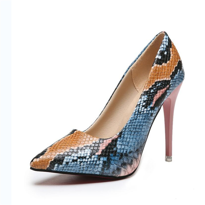 Snake Print Sexy High <font><b>Heels</b></font> High <font><b>Heels</b></font> Women's Shoes Pointed Shoes Party Prom Women's Pumps 11 <font><b>13</b></font> 42 Party Shoes image