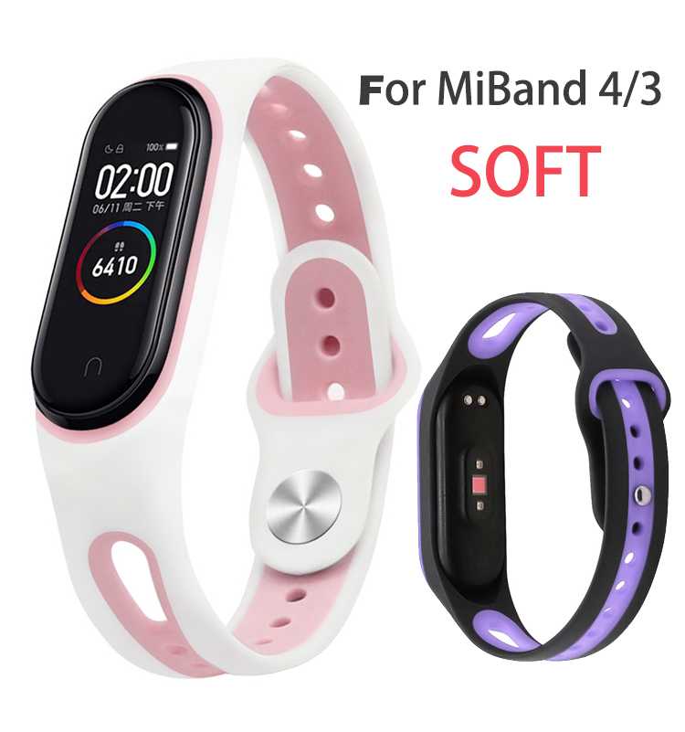 For Mi 3 Band Strap Xiaomi Miband 4 Strap Sports Buckle Mi Band 3 Strap Silicone Replacement For Mi Band 3 4 Strap