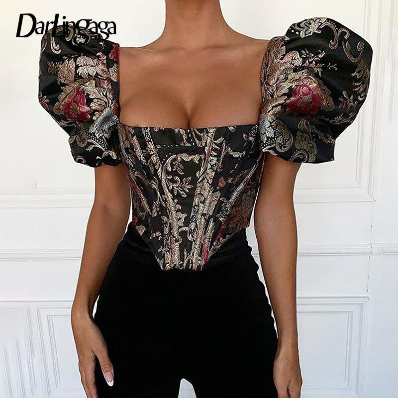 Darlingaga Retro Square Neck Elegant Shirt Women Corset Floral Embroidery Puff Sleeve Bustier Top Fashion Cropped Blouses ShirtsBlouses & Shirts   -