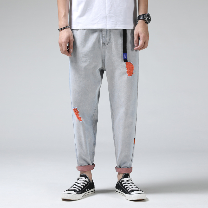 Autumn New Style Capri Jeans Men's Trend Color With Holes Light Color Washing Water Europe And America Large Size Harem Pants Me