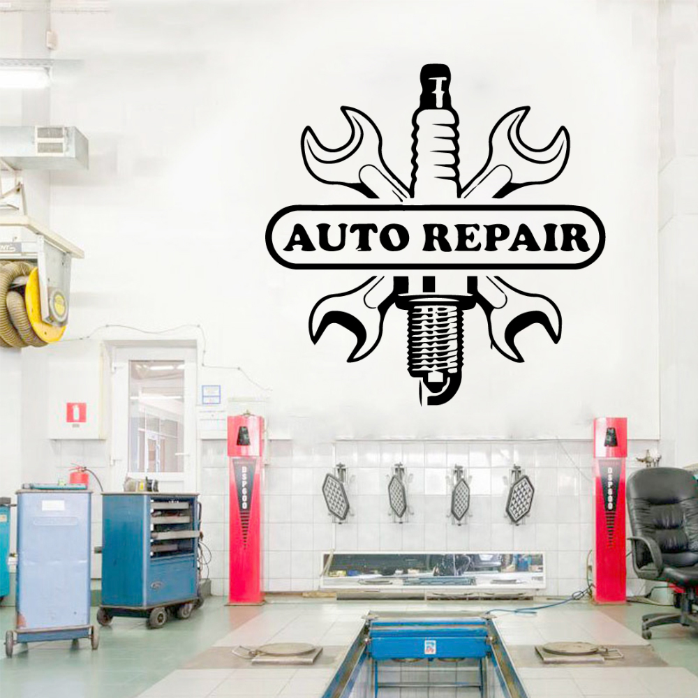 Funny Car Repair Vinyl Wall Stickers Wallpaper For Auto Reapir Store Sticker Wall Decals Poster