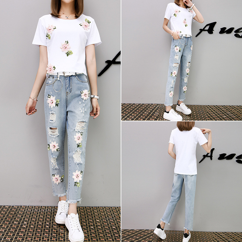 2017 Summer Wear New Style Korean-style Beads Embroidery White T-shirt + With Holes Capri Jeans WOMEN'S Suit Two-Piece Set