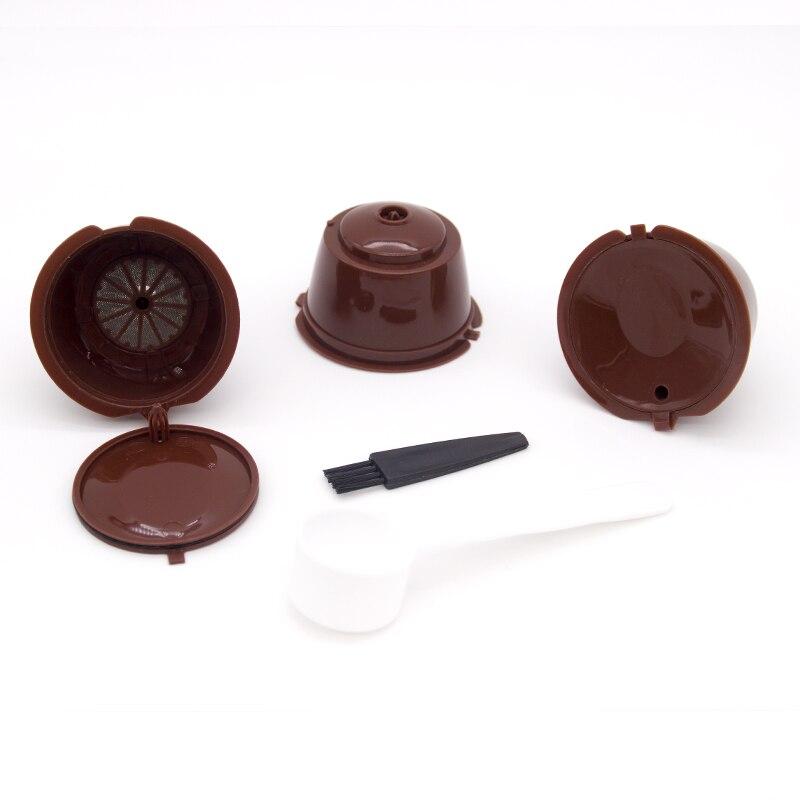 3 pçs copo de filtro de cápsula de café reusável para nescafe dolce gusto tampas recarregáveis colher cestas de filtro de escova pod sabor macio doce