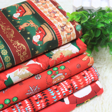 Christmas Style Cartoon Printed Cotton Plain Fabric DIY Patchwork Pure Material Santa Cloth For Baby&Child