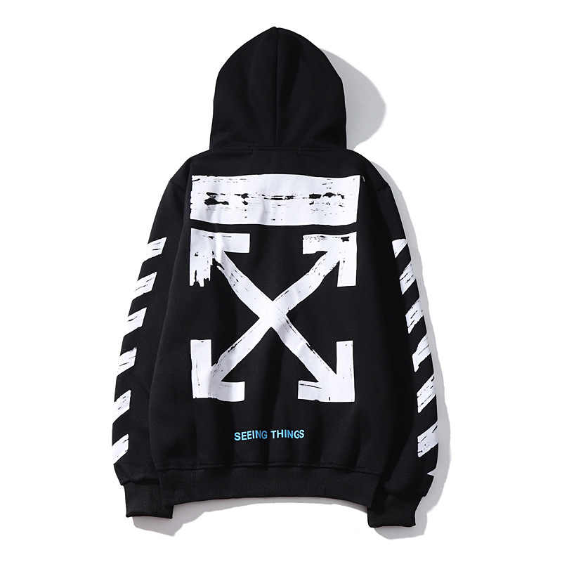 2019 Classic Europe And America New Style Graffiti Base Arrowhead Printed Arm Diagonal Stripes Men And Women Couples Hoodie