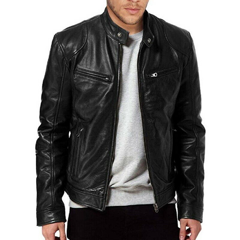 Helisopus New Autumn Winter PU Leather Jacket Men Stand Collar Motorcycle Leather Bomber Jacket Streetwear Casual Tops