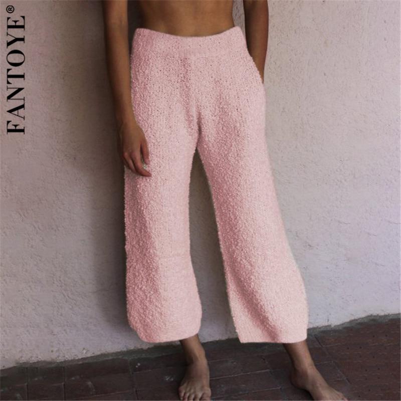 FANTOYE Women   Wide     Leg     Pants   Women Autumn Casual Loose Terry Trousers Female 2019 New Solid Woolen   Pants   Basic Homewear   Pants