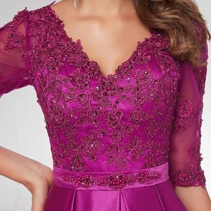 Image 5 - 여자 보라색 긴 소매 이브닝 가운 우아한 공식적인 긴 드레스 새틴 라인 연예인 공식 드레스 저녁 2021