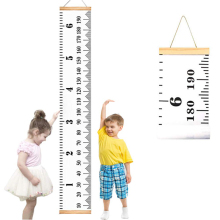 Baby Kids Height Growth Chart Hanging Ruler Wall Decor Removable Canvas Measurement for Home Decoration