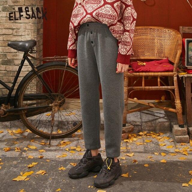 ELFSACK Black Solid Korean Warmness Women Pants 2020 Winter Black Elastic Waist Straight Office Ladies Basic Daily Trousers