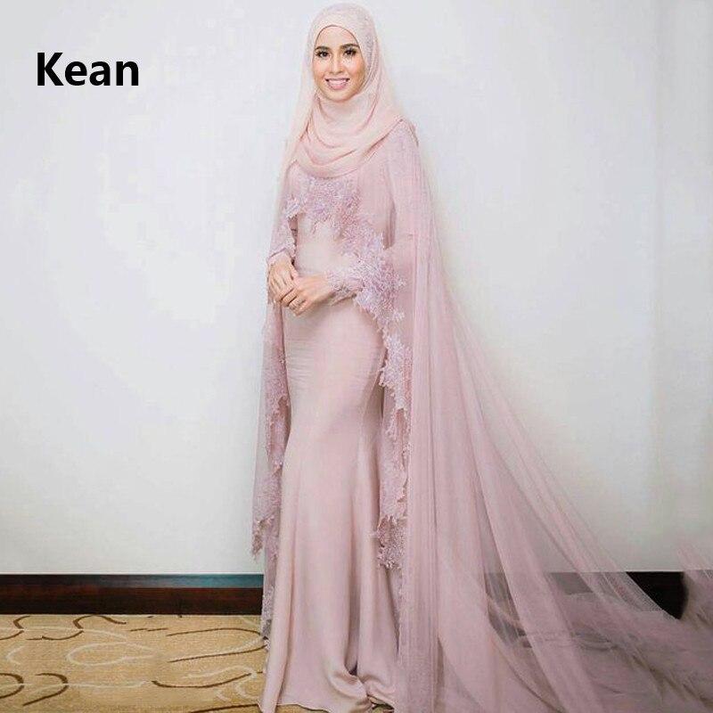 Pink Muslim Evening Dress Satin Lace Full Sleeve Scarf Simple Islamic Dubai Kaftan Saudi Arabic Evening Gown Prom Dress