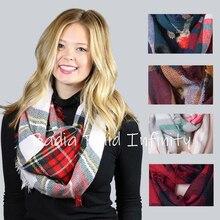 Хит, зимний шикарный вязаный акриловый женский клетчатый шарф в клетку тартан, клетчатый шарф в клетку, Красный клетчатый шарф в клетку буйвола