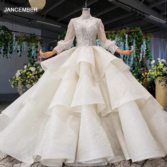 HTL969 ball gown wedding dress long sleeve tulle lace bead sequin illusion luxury wedding gown high neck свадебные платья 2020