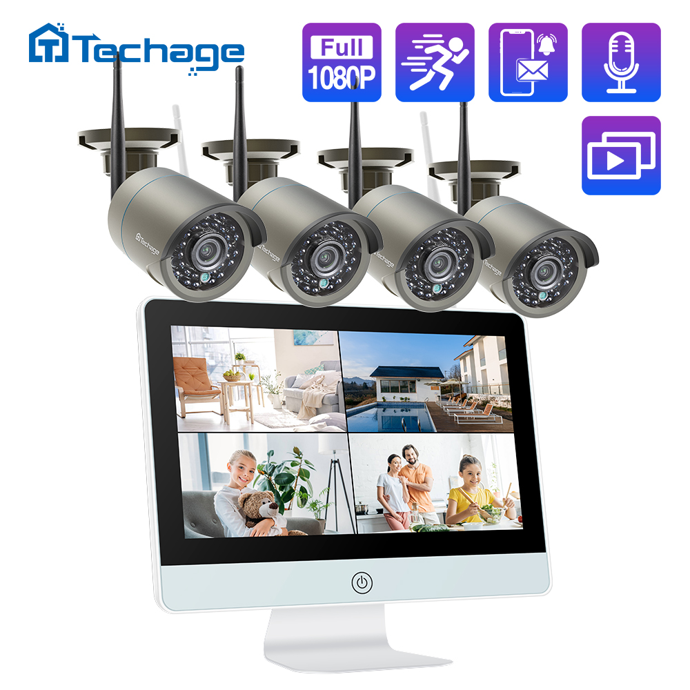 Techage 8CH 1080P Wireless Security Camera System 12inch LCD NVR 2MP IR Outdoor Waterproof CCTV Wifi Camera Video Surveillance Set