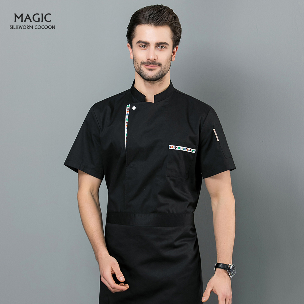 Chef Restaurant Uniform Summer Arrival Men Kitchen Restaurant Cook Workwear Multiple Colour Shirt Red Blue Chef Jacket Shirt