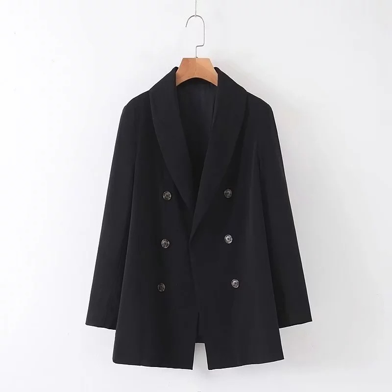 2019 Autumn New Women's Jacket Casual Double-breasted Long Black Suit Jacket Female Loose Large Size Office Blazer Suit