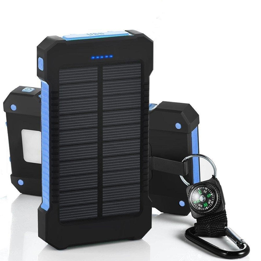 Waterproof 30000mAh Solar Power with USB Ports and LED Light for Smartphone Charging
