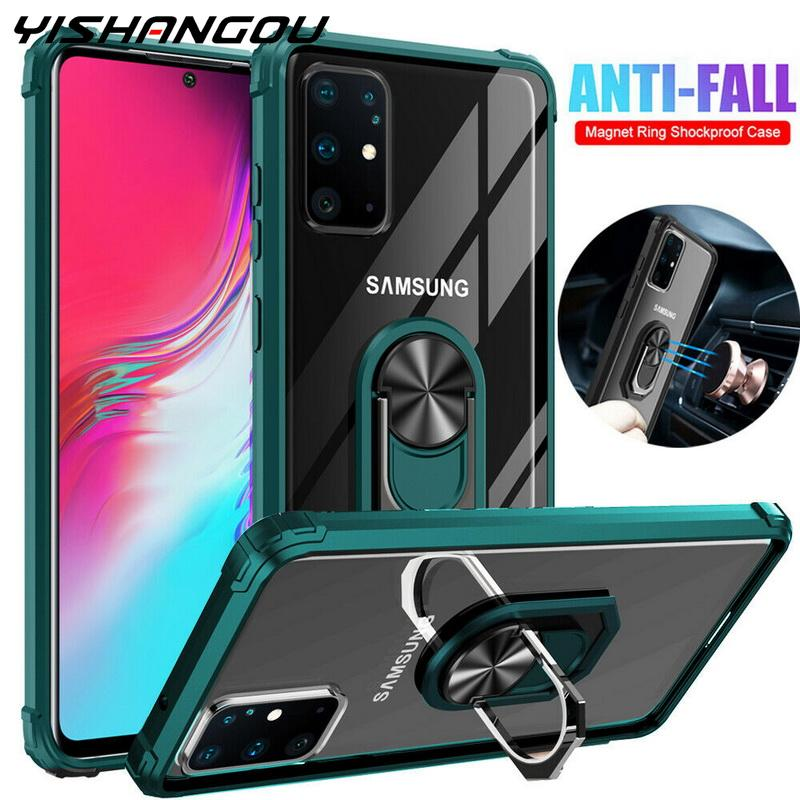 Shockproof Clear Armor Case For <font><b>Samsung</b></font> Galaxy S20 Ultra Note 10 S10 Plus A50 A70 <font><b>A10</b></font> A20 A30 Car Ring Holder Stand <font><b>Cover</b></font> Cases image