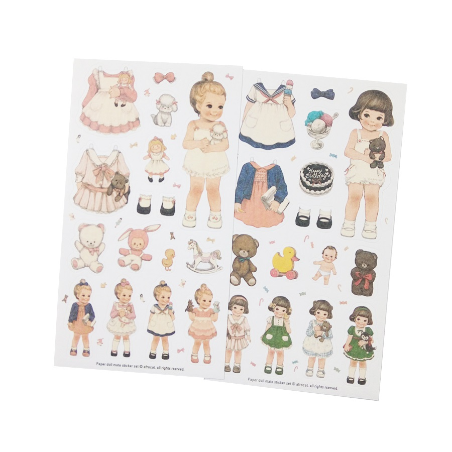 6pcs/pack Kawaii Dolls Change Clothes Paper Sticker Set Note Sticker School Gift Stationery