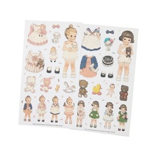 6pcs/pack Kawaii Dolls Change Clothes Paper Sticker Set Note School Gift Stationery