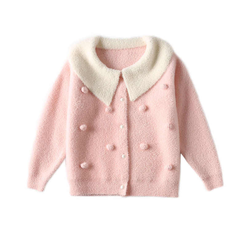 Autumn Winter Girls Sweater Coats Knitted Cardigan Sweater Kids Spring Wear Children's Clothing Sweet Turn-down Collar Sweater 3