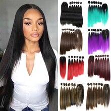 SOKU, черные, синие, фиолетовые, красные синтетические пряди для волос, с застежкой, 14-18 дюймов, прямые волосы Yaki, плетение, 6 пряди, с застежкой на шнуровке