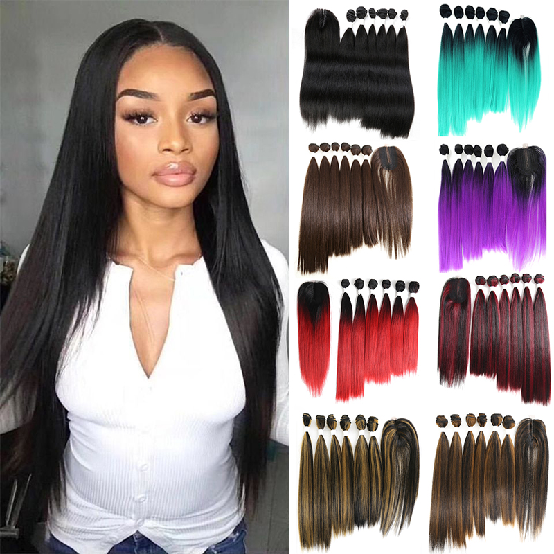 SOKU Black Blue Purple Red Synthetic Hair Bundles With Closure 14-18inch Yaki Straight Hair Weaving 6 Bundles With Lace Closure