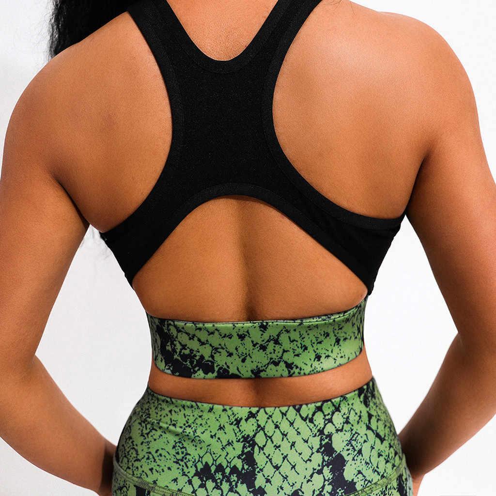 Sexy Snake Print Sportswear Frauen Grün Zwei-stück Sweat Set Sport Outfit Für Frau Gym Kleidung Workout Fitness Anzug