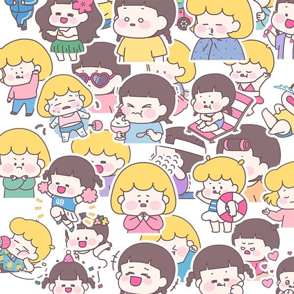 40pcs Cute Little Girl Life Stickers DIY Scrapbooking Album Junk Journal Happy Planner Decorative Stickers