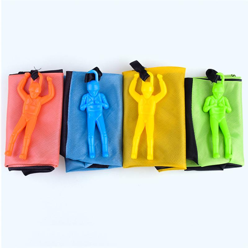 3pcs Funny Free Hand Throw Mini Soldier Parachute Toy Classic Flying Toys For Kids Children Outdoor Sport (Blue, Yellow, Green)