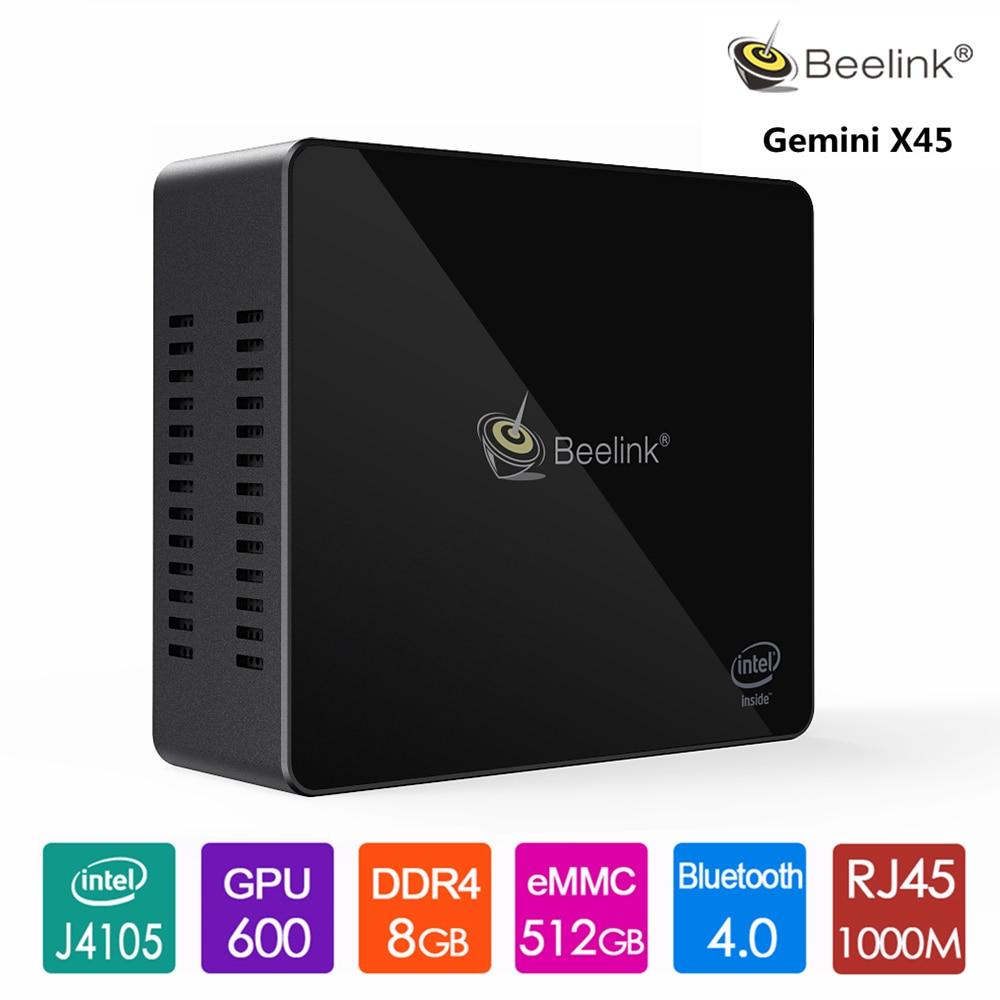 Beelink Mini PC Gemini X45 Intel J4105 Win10 8GB RAM 256/512GB MSATA SSD USB 3.0 1000Mbps WIFI BT4.0 Pocket PC Windows And Linux