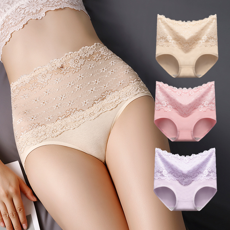 High Waist Women's Sexy Lace Lady Panties Cotton Breathable Panty Hollow Briefs Plus Size Girl Underwear